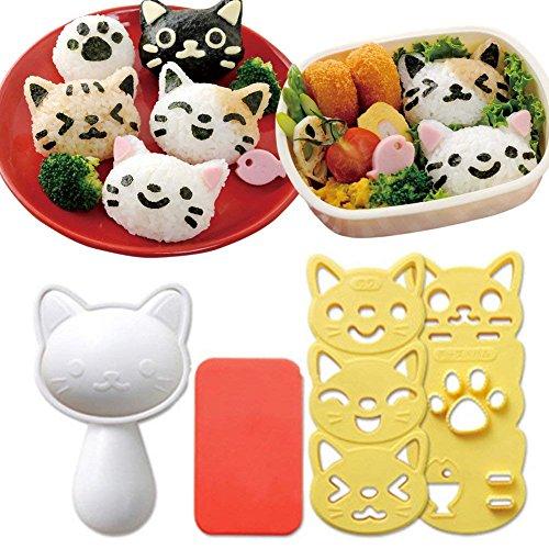 Hofumix Bento Accessories Sushi Mold Rice Ball Mold Cartoon Cat Pattern Sushi Bento Nori Kitchen Rice Decor Kits Sandwich DIY Kitchen Tools for Baby Kids Meal