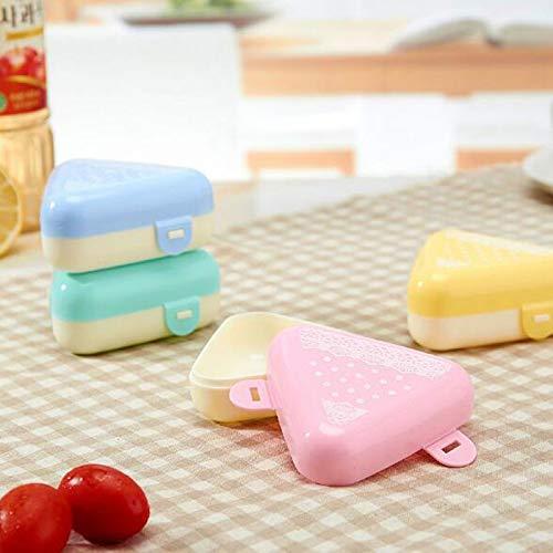 Fiesta 2pcsSet cute Triangular bento Box DIY Sushi Maker Gimbap mould Kitchen Accessories portable mini Onigiri rice boll maker box Send Random color