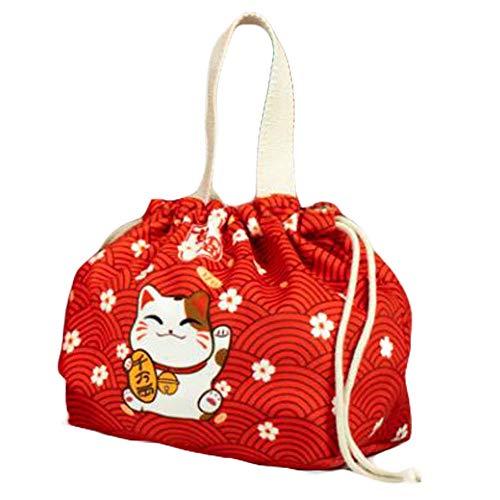 Pigeon Fleet Japanese Cute Bento Bag Drawstring Fortune Cat Lunch Bag Red