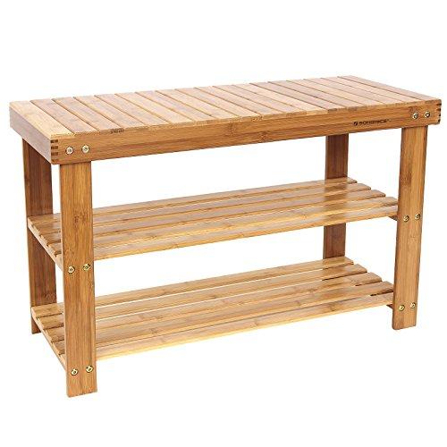 SONGMICS 2-tier Shoe Bench Organizing Rack Entryway Storage Shelf 100 Bamboo ULBS04N