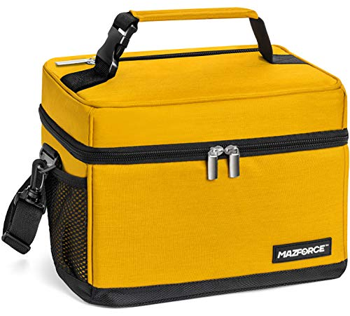 MAZFORCE LongHaul Lunch Bag Insulated Lunch Box - Spacious Pro Performance Adult Lunchbox Built to Withstand your Daily Grind Lunch Bags Designed in California for Men Adults Women - Yellow