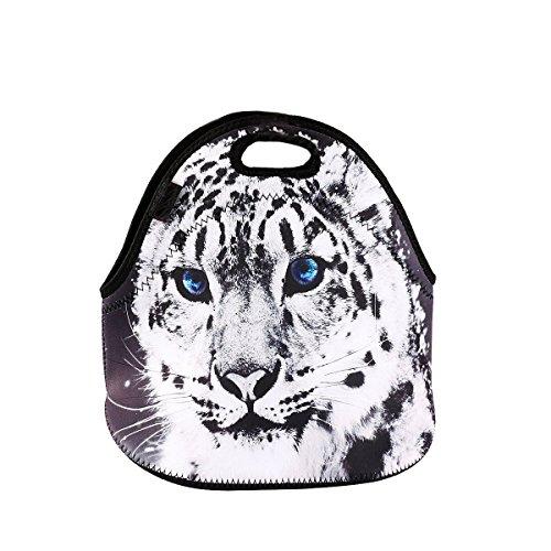 Damask Neoprene Student Lunchbox Bag Waterproof Handbag Outdoor Picnic Bag Cute Lunch Tote for Women Kids Girls Boys Tiger