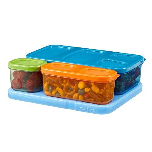 Rubbermaid 1866737 LunchBlox Kids Flat Lunch Box Kit BlueOrangeGreen