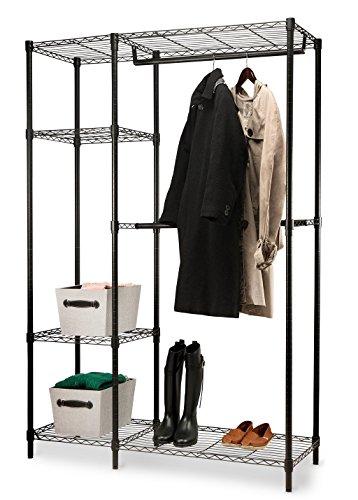 Home-it Garment Rack heavy duty shelving Wire Shelving Black closet shelving garment racks