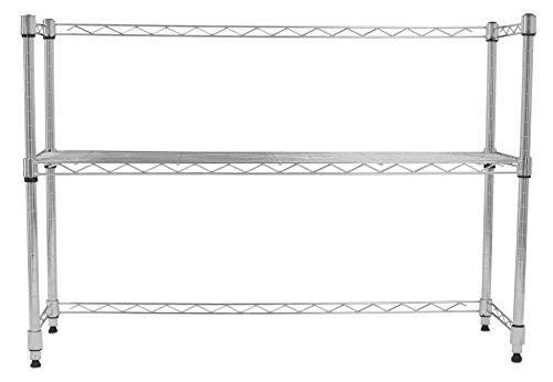 Internet's Best Adjustable Shelf Desktop Organizer  Chrome  Countertop Shelving Unit  Wire Rack Adjustable Closet Shelf