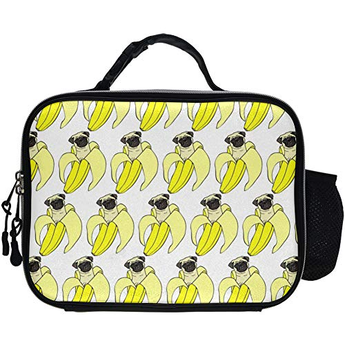 Funny Pud Dog Banana Repeat White Lunch Bag Fancy Black Insulated Lunch Box With Strap For Women Men Teens Kids