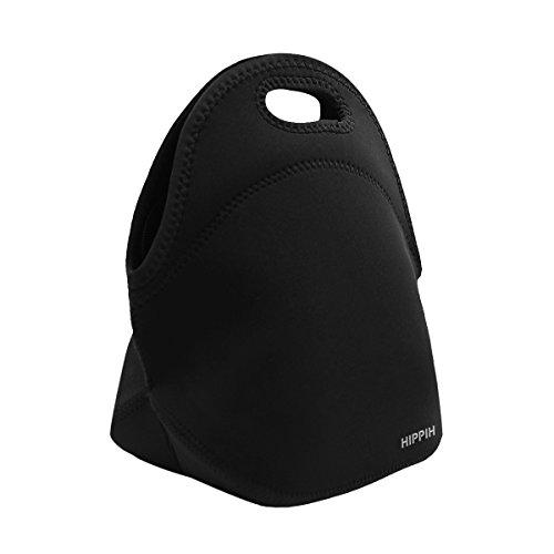 Hippih Insulated Waterproof Durable Neoprene Lunch Tote Bag Black