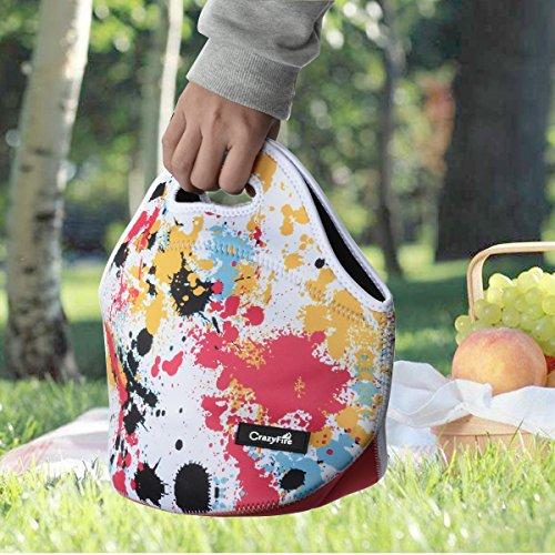 Neoprene Lunch BagCrazyFire Waterproof Insulated Lunch Tote BagPicnic Lunch Box with Rubber Zipper Design for Men Women Kids