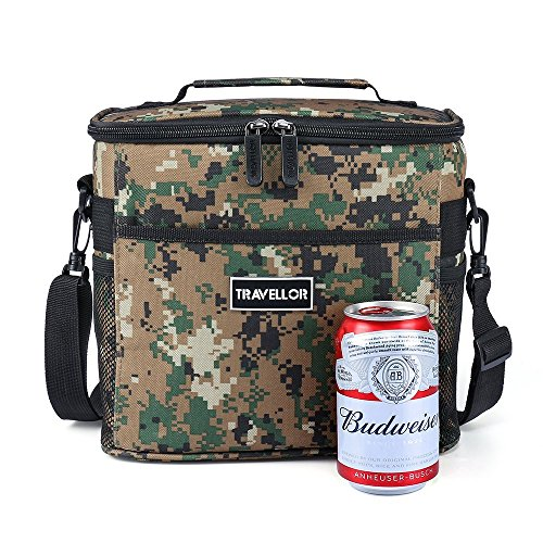 Insulated Lunch Bag Camping Cooler Bag Ice Chest Bag School Office Work Lunch Bag with Strap Camo Mini Size