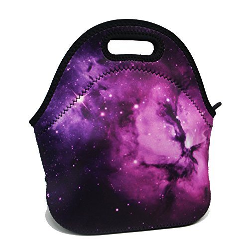 Artone Purple Universe Galaxy Insulated Lunch Bag Waterproof Neoprene Lunchbox Container Case Purple