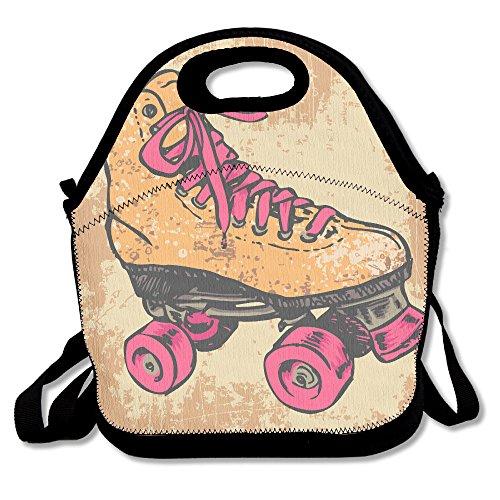 Retro Roller Skate Portable Lunch Box Bag Insulated Waterproof Picnic Handbag For Women Adults Kidsand Girls