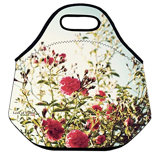 Lunch BagBlossom Red Rose Lunch Handbag Lunch Bag Coloer Warm Pouch Tote Bag