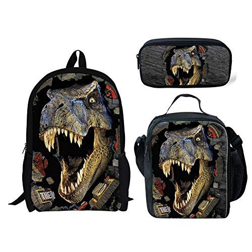 INSTANTARTS T-rex Dinosaur School Backpack Lunch Box Bag Set Pencil Case Bookbag Set