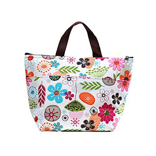 Cisco72 Foldable Lunch Bag Flower Printed Lunch Bags for Women Foldable Insulated Cooler Bag Waterproof PVC Thermal Food Picnic Lunch Bag Tote Pouch
