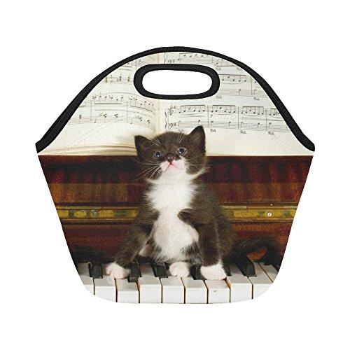 InterestPrint Cute Kitten on Piano Keys Reusable Insulated Neoprene Lunch Tote Bag Cooler 1193 x 1122 x 669 Cat Animal Music Note Portable Lunchbox Handbag for Men Women Adult