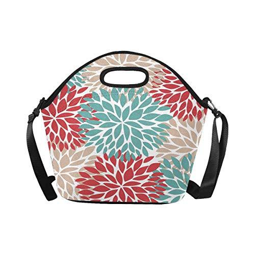 InterestPrint Dahlia Pinnata Flower Beige Blue and Light Red Lunch Bag Waterproof Neoprene Gourmet Insulating Lunch Tote Portable Lunchbox Handbag with Shoulder Strap