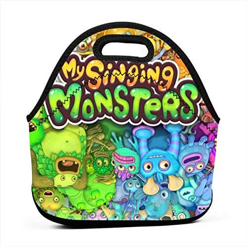 Zebraprime My S-ing-ing Mon-sters Portable Bento Lunchbox Bag Multi-Function Zipper Bag for School Office Handbag Children Kids