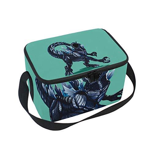 ALINLO Godzilla Cartoon Dinosaur Lunch Bag Zipper Insulated Cooler Tote Bag Lunchbox Meal Prep Handbag for Picnic School Women Men Kids