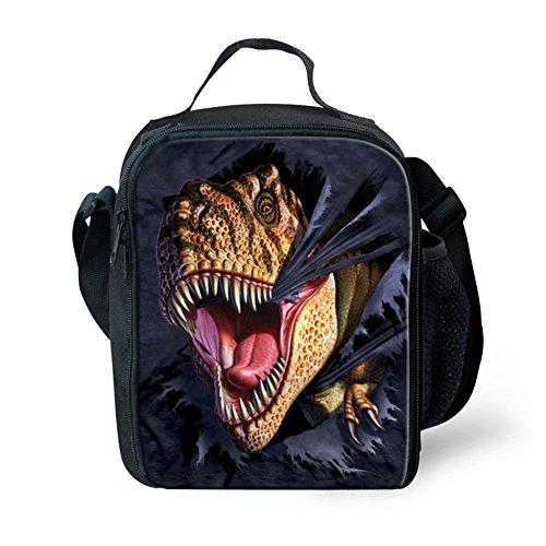 CHAQLIN Black Adults Kids Food Box Fashion Dinosaur Lunch Bags for Teen Boys