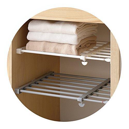 HaloVa Scalable Layered Separator Retractable Wardrobe Partition Shelf Multifunctional Adjustable Stretchable Storage Shelves Rack for Kitchen Bathroom 196 - 315 White