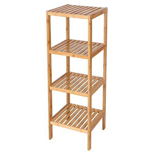 SONGMICS 100 Bamboo Bathroom Shelf 4-Tier Multifunctional Storage Rack Shelving Unit 38 58 x 12 78 x 12 78 UBCB54Y