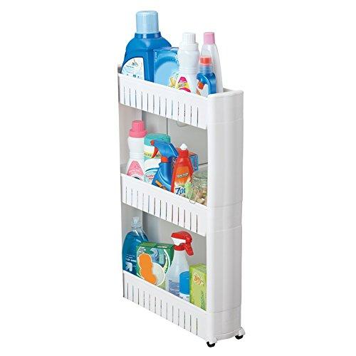 Slim 3-Tier Rolling Storage Shelf