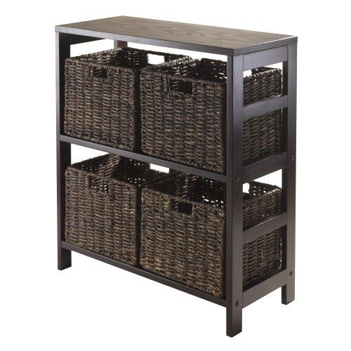Winsome Granville 5-Piece Storage Shelf with 4-Foldable Baskets Espresso
