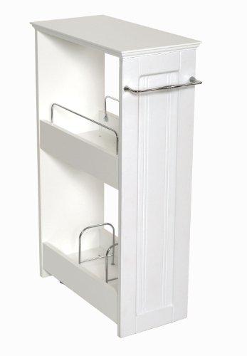 Zenna Home 9227WWBB Slimline Rolling Storage Shelf White