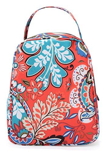 MELROSE Women Fashion Ultra Light Small Lunch Bag Lunch Handbag Box Vermillion