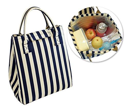 Sunptoo Insulated Lunch Bag Waterproof Stripe Pattern Hand Shopping Tote Bag for Kids Girls Women
