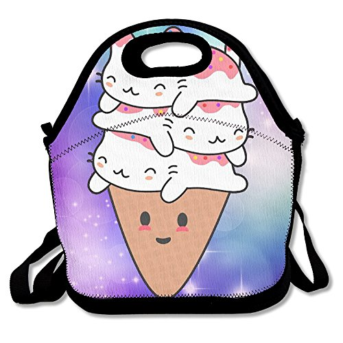 Hoeless Cats Ice Cream Insulated Lunch Backpack With ZipperCarry Handle And Shoulder Strap For Adults Or Kids Black