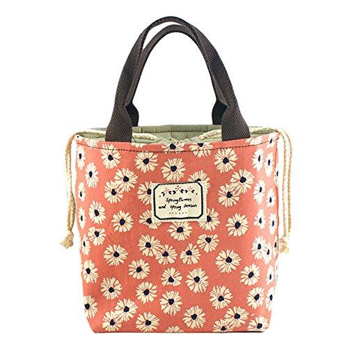 Bidear Fashionable Reusable Insulated Lunch Bag for Womens Girls Kids TeensOrange