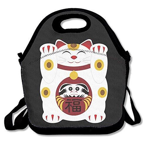 Japanese Cute Maneki Neko Cat Lunch Box Bag For Kids And Adultlunch Tote Lunch Holder With Adjustable Strap For Men Women Boys GirlsThis Design For Portable Oblique Crossdouble Shoulder