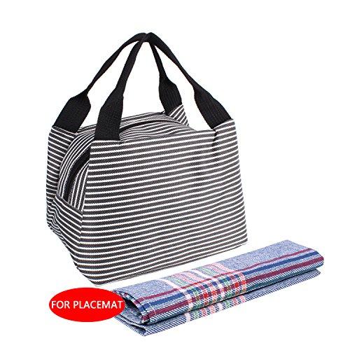 Stripe Lunch Bag Mini Lunch Box Travel Picnic Bag School Lunch Bags Lunch Handbag Lunch Organizer for Women Men Black
