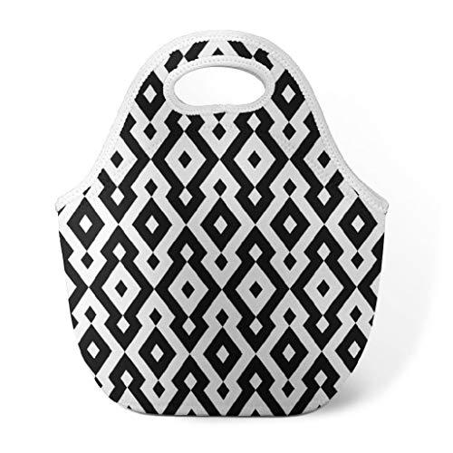 Chevron Lunch Bag Insulated Lunch Bag Abstract Geometric Pattern Aztec Ethnic Style MonochromeLarge Neoprene Lunch Bag Modern Lunch Bag for Women Kids Teen Men Black White