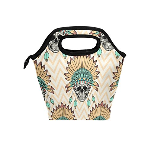 TropicalLife Lunch Tote Bag Ethnic Feather Skull Zipper Insulated Cooler Reusable Geometric Chevron Lunchboxes Portable Lunch Bags Handbag for Adult Men Women Kids Boys Girls