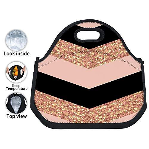 WOOBAG Rose Gold Black Glittery Chevron Lunch Bag Large Insulated Reusable Neoprene Lunch Box Waterproof Tote Bento Bag With Zippe Handbag For Men Women Adults Kids Girls Boys