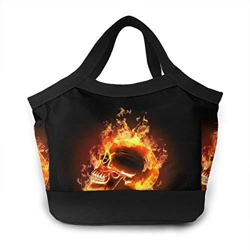FsszpZZ Portable Handbag Insulated Lunch Bag Flame Skull Burning Fire Cool Skulls Reusable Lunchbox Lunch Tote Shopping Bags for Travel School Work Picnic Women Men