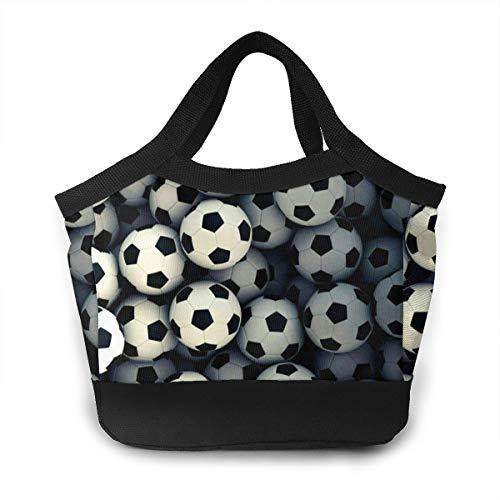 FsszpZZ Portable Handbag Insulated Lunch Bag Football Black Soccer Patterns Waterproof Lunchbox Lunch Tote Shopping Bags for Travel School Work Picnic Women Men