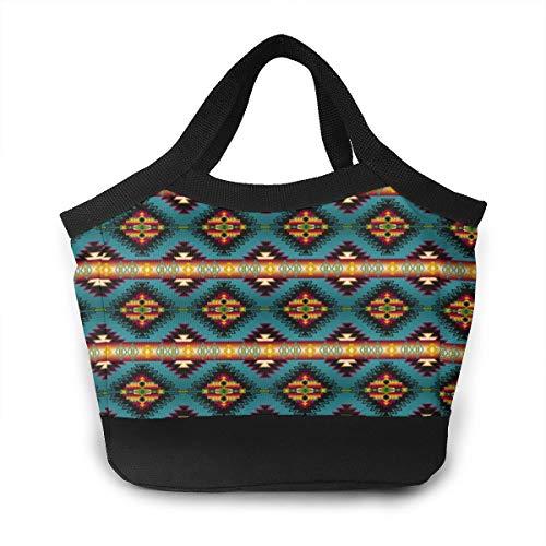 FsszpZZ Portable Handbag Insulated Lunch Bag Southwest Native American Tribal Indian Geometric Waterproof Lunchbox Lunch Tote Shopping Bags for Travel School Work Picnic Women Men