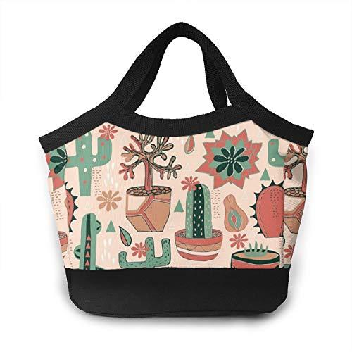 FsszpZZ Portable Handbag Insulated Lunch Bag Sun Room Succulents Cactus Southwestern Reusable Lunchbox Lunch Tote Shopping Bags for Travel School Work Picnic Women Men