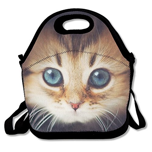 WEI D SHQ Reusable Lunch Bag Curious Kitty Food Handbag Custom Lunch Holder Printed Lunch Tote Bag Multi-function Lunch Box Organizer For Adults And Kids