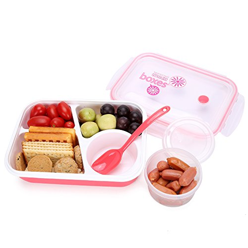 Bento Box Lunch Box 3-compartment 1-bowl 4 in 1 1- Spoon - Silicone Leakproof Healthy Lunch Boxes for Kids Adults - Food Grade Plastic Containers Crisper - Special Smart Valve Microwave-safe Red