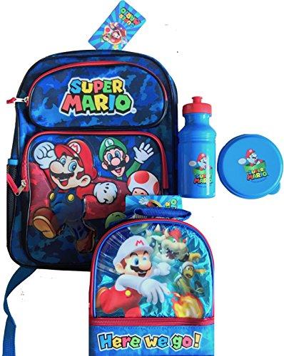 Super Mario Maker School Backpack Super Mario Lunch Box Water BottleSnack Bpa Free Here We go