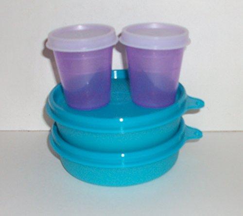 Tupperware Lunch Box Snack Set Bowls Little Wonders Midgets Aqua Blue Purple Set 4