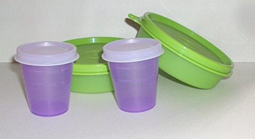 Tupperware Lunch Box Snack Set Bowls Little Wonders Midgets Lime Green Purple Set 4