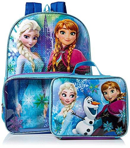 Frozen Elsa Anna School Backpack Lunch Box Book Bag Combo SET