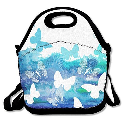 ISSOPICA Watercolor Blue Butterflies Custom Lunch Bag Backpack