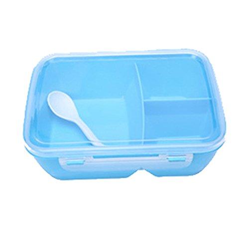 mk park - Portable Microwave Lunch Box Bento Food Picnic Container Storage Bento Box Spoon Blue