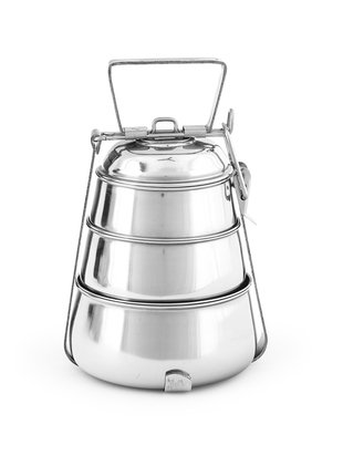 King International Stainless Steel Bento Vintage Pyramid tiffin box Traditional Indian lunch box Indian Tiffin Food storage container13 cm 3 tier